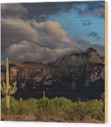 Light Play On The Superstitions  Wood Print