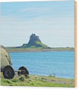 Lindisfarne Castle And Bay Wood Print