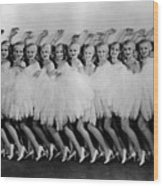 Line Of Chorus Girls In Feathered Wood Print