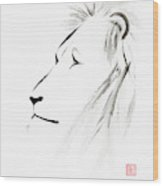 Lion Face With A Deep Wise Gaze Japanese Sumi-e Illustration Wood Print