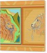 Lion Pair Warm Wood Print