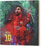 Lionel Messi In Barcelona Kit Wood Print