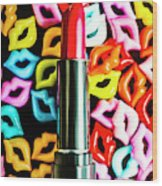 Lipstick Lips Wood Print