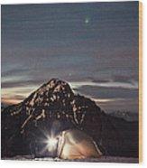 Lit Tent At Night Wood Print