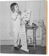 Little Girl On The Phone To Santa Wood Print