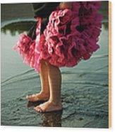 Little Girls Feet Splashing And Dancing Wood Print