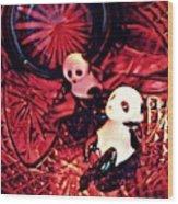 Little Glass Pandas 33 Wood Print