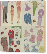 Little Golden Book Paper Doll Sees America Wood Print