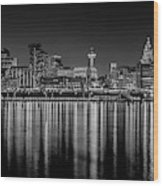 Liverpool Skyline In The Night Black And White Wood Print