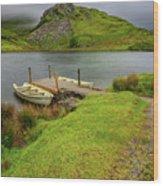 Llyn Y Dywarchen Boats Snowdonia Wood Print