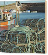 lobster pots and trawlers at Dunbar harbour Wood Print