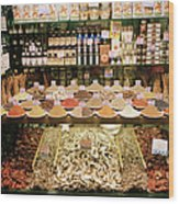 Local Foods For Sale In A Store In Wood Print