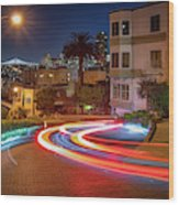 Lombard Street And The Bay Bridge Wood Print