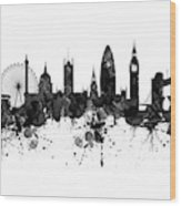 London Black And White Watercolor Skyline Silhouette Wood Print