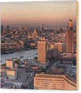 London Cityscape At Sunset Wood Print