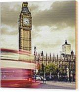 London Double Decker Bus Near Big Ben Wood Print