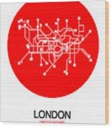 London Red Subway Map Wood Print