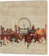 London Skyline Sepia Wood Print