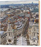 London Skyline St Pauls Cathedral Wood Print