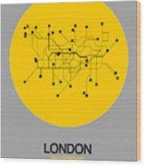 London Yellow Subway Map Wood Print