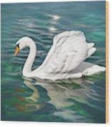 Lone Swan Lake Geneva Switzerland Wood Print