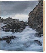 Long Exposure At The Water Wood Print