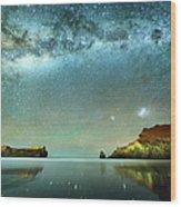 Long Exposure Of Stars Wood Print