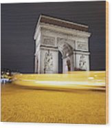 Long Exposure Picture Of Paris Arch De Triomphe At Night   Wood Print