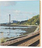 Longgannet Power Station And Railway Wood Print