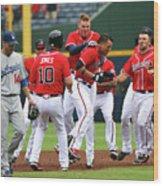 Los Angeles Dodgers V Atlanta Braves Wood Print