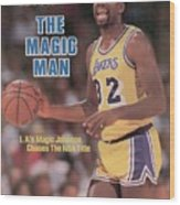Los Angeles Lakers Magic Johnson, 1985 Nba Western Sports Illustrated Cover Wood Print