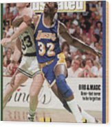 Los Angeles Lakers Magic Johnson And Boston Celtics Larry Sports Illustrated Cover Wood Print