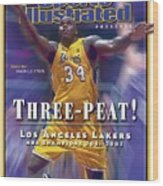 Los Angeles Lakers Shaquille Oneal, 2001 - 2002 Nba Sports Illustrated Cover Wood Print