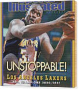 Los Angeles Lakers Shaquille Oneal, 2001 Nba Champions Sports Illustrated Cover Wood Print