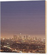 Los Angeles Skyline At Twilight Wood Print