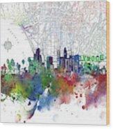 Los Angeles Skyline Map Watercolor 3 Wood Print