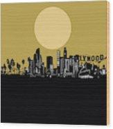 Los Angeles Skyline Minimalism Yellow Wood Print