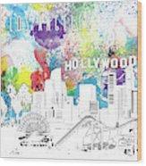 Los Angeles Skyline Panorama Watercolor Wood Print
