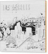Los Angeles Skyline Panorama White Wood Print
