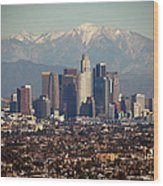 Los Angeles Skyline With Snow Capped Wood Print