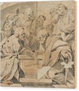 Los Apostoles Ante El Sepulcro Vacio De La Virgen  Wood Print