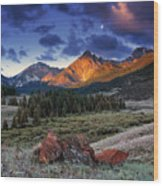 Lost River Mountains Moon Wood Print