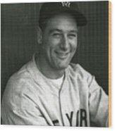 Lou Gehrig Dugout Portrait Wood Print