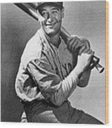 Lou Gehrig Holding Three Baseball Bats Wood Print