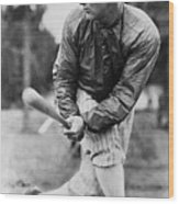 Lou Gehrig In Jacket Swinging Wood Print