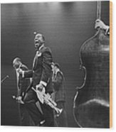 Louis Armstrong On Stage Wood Print