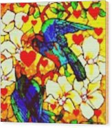 Love Birds In The Love Tree With Hibiscus Wood Print