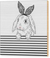 Lovely Bunny Girl With Lace Ears Qnd Wood Print