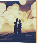 Loving Couple Standing In A Cozy Winter Scenery. Wood Print