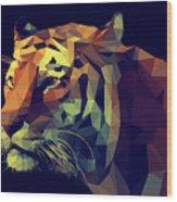 Low Poly Design. Tiger Illustration Wood Print